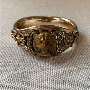 Vintage Antique Gold & Stone Lion Cuff